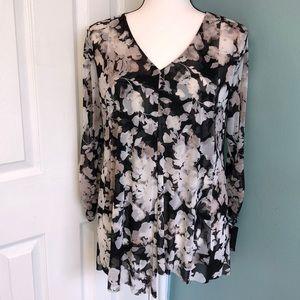 Alfani  Black & White Floral Top